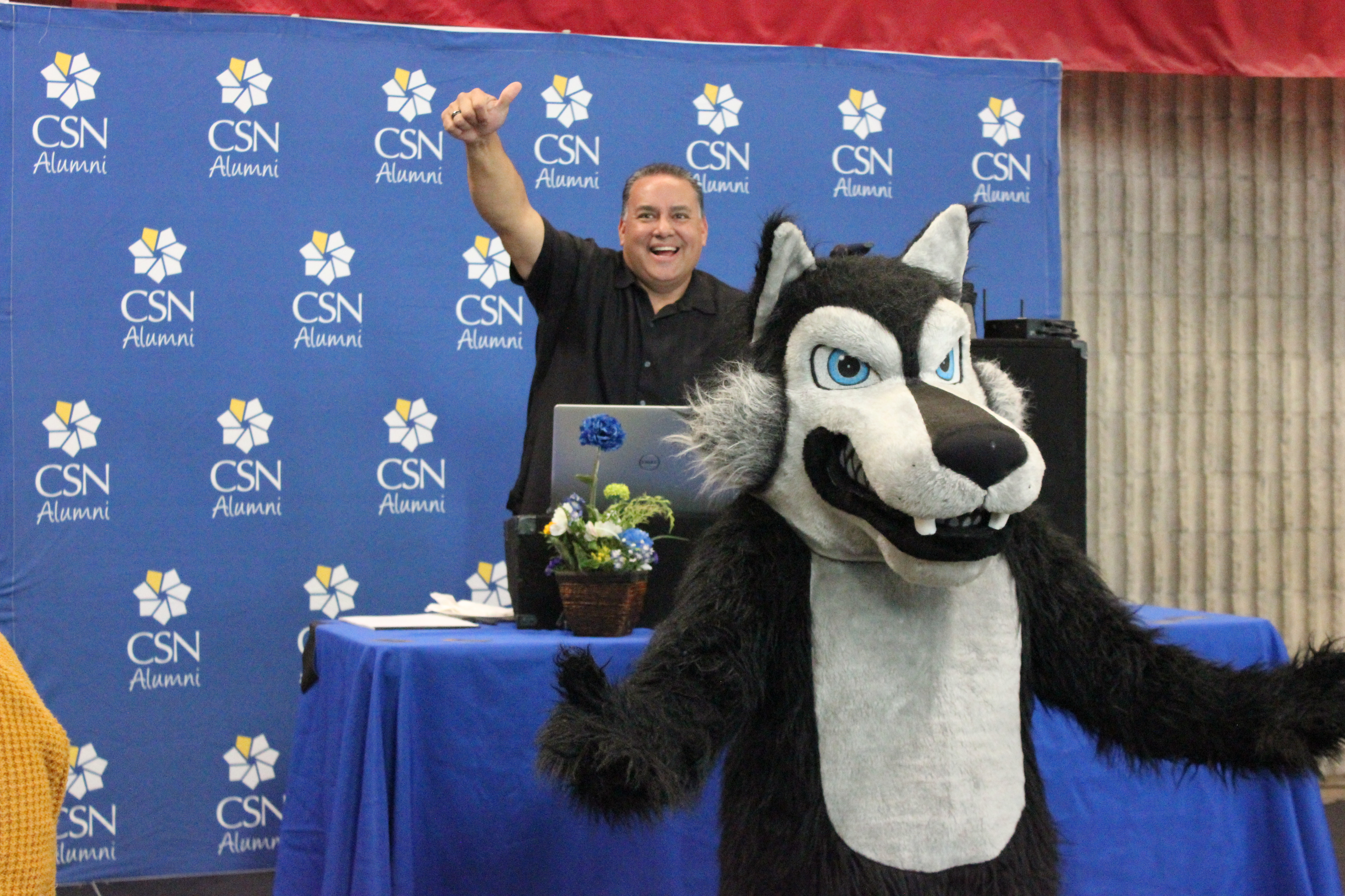 CSN Coyote and DJ during Coyote Howl event